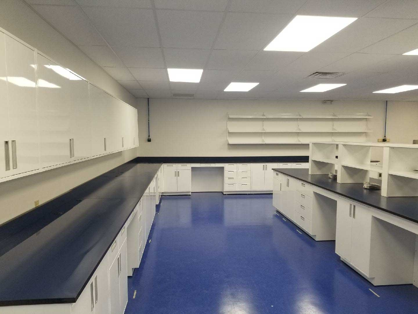 laboratory casework island and reagent shelves