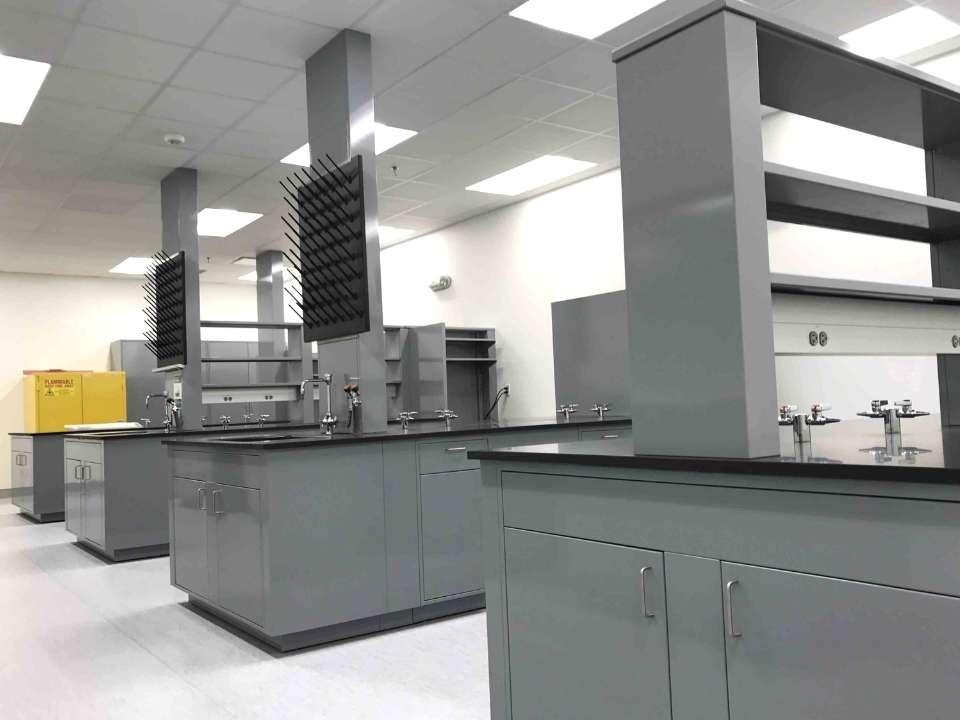 gray metal lab casework