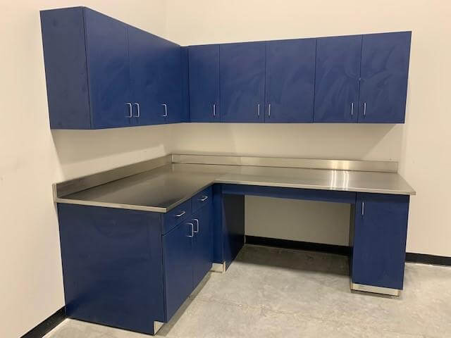 laminate cabinetry with stainless steel countertops